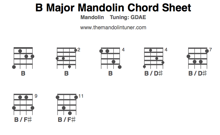 Mandolin Chords, B Major