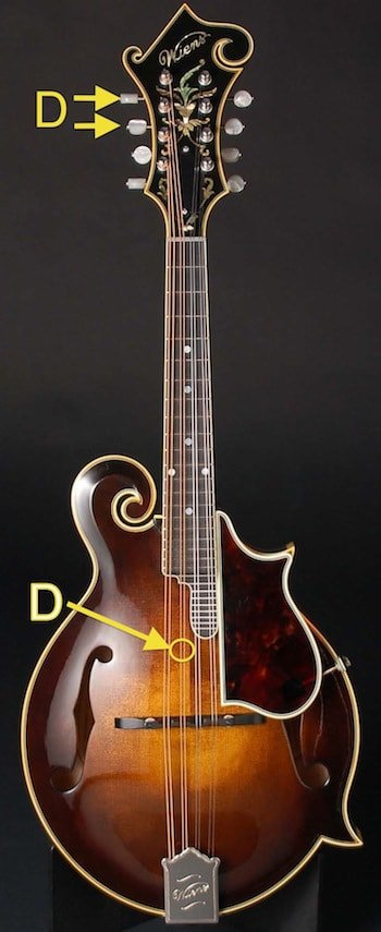 online mandolin tuner by ear - D strings