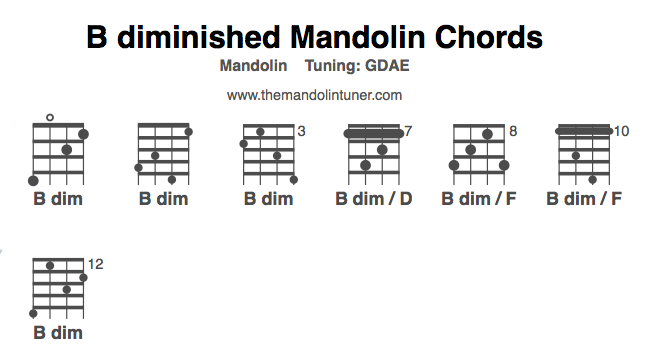Mandolin mandolin chords tuning : How to play B diminished mandolin chords