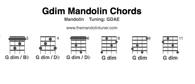 Mandolin four finger mandolin chords : How to play G diminished mandolin chords