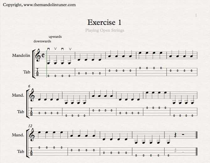 Mandolin Basics - mandolin exercise 1