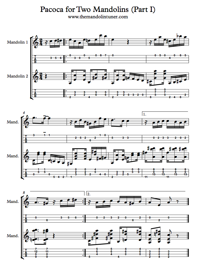 Pacoca Score Part I for two mandolins