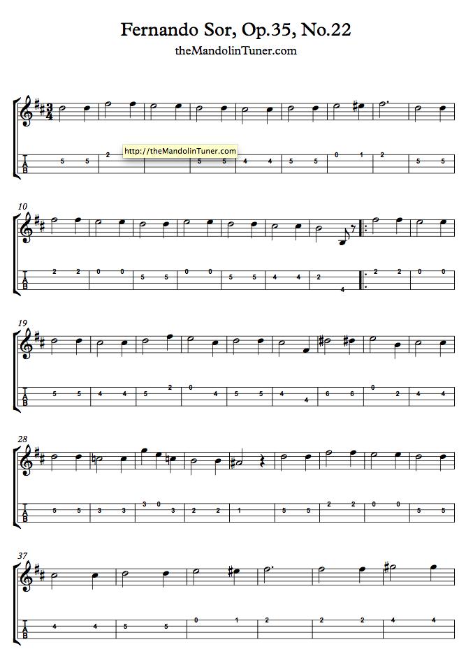 Mandolin Tremolo - Fernando Sor Op35 Mandolin tab page 1