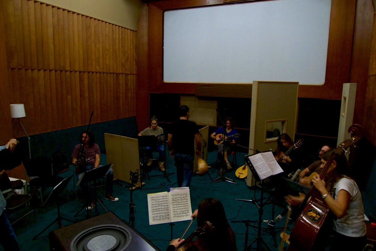 Weiss concerto recording in studio